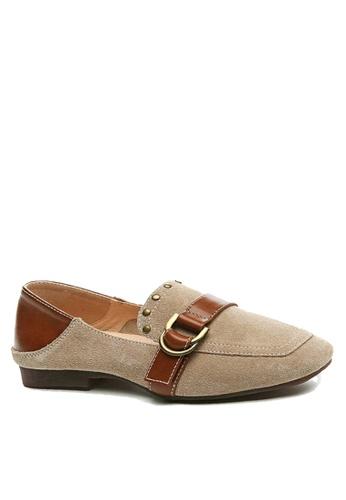 Twenty Eight Shoes 米褐色 裝飾扣及鉚釘高面鞋 VF1987 44DFFSH07B12DEGS_1