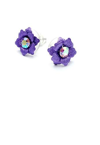 Glamorousky purple Purple Flower Earrings with Austrian Element Crystal 2DB9FAC8DF5D8FGS_1