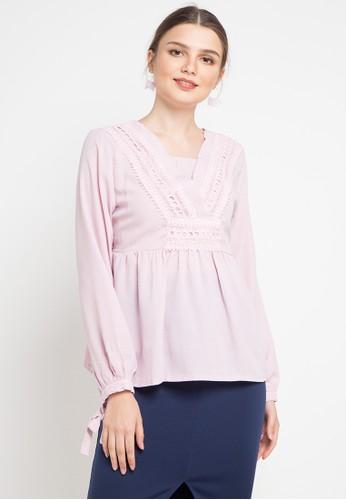 FAME pink V-Neck Blouse B9E38AA0276257GS_1