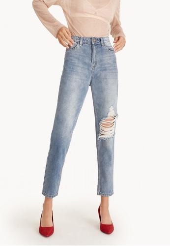 Pomelo blue Mid Wash Distressed Boyfriend Jeans 331C7AA471F03EGS_1