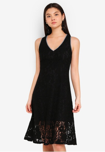 Preen & Proper black Lace Dress With Stripes Trim 8933AAAE6CF9BDGS_1