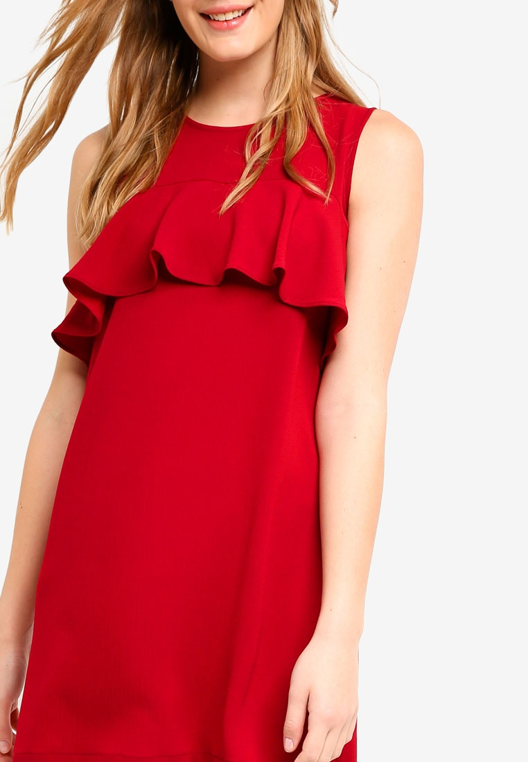 Basic ZALORA Burgundy Dress Detail Frill BASICS AZnx7A