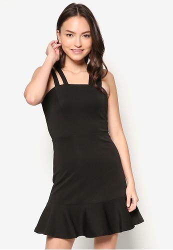雙肩帶拼色荷葉邊zalora退貨洋裝, 服飾, 派對洋裝