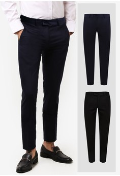 ZALORA-2 Pack Slim Fit Formal Trousers