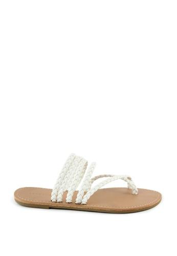 London Rag 白色 London Rag 女士夏季条带平底凉鞋 A5DEFSHA836C10GS_1
