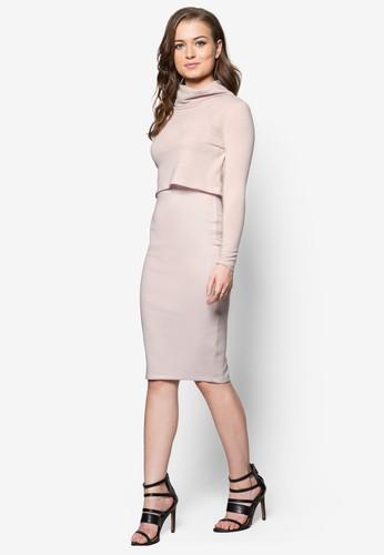 zalora 包包 ptt假兩件高領連身裙, 服飾, 服飾