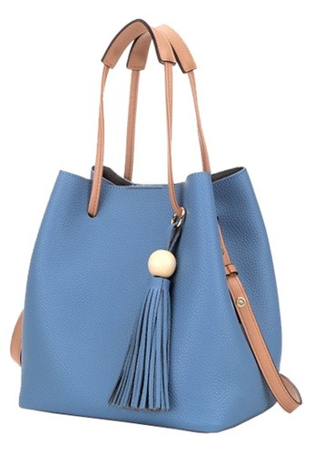 Vince blue Women's Vegan Leather Bucket Bag  ( Blue ) FL898AC70FFDMY_1
