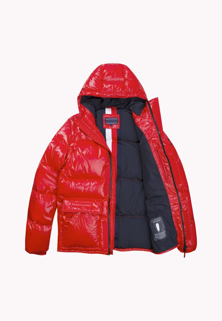 Tommy Hilfiger BOMBER SHINY Red Haute HOODED DOWN txqIRIp