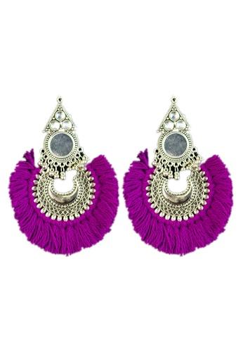 Zaryluq purple Tassel Earrings in Karmazi 2BEA1AC564A063GS_1