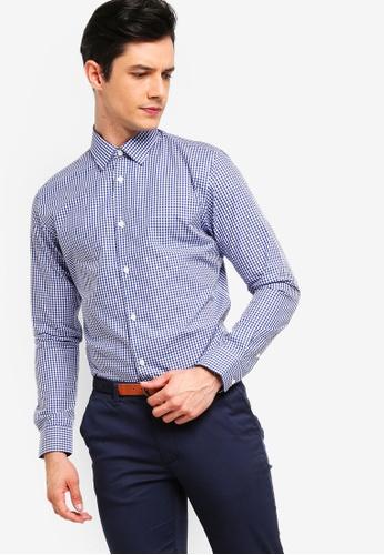 Selected Homme 藍色 長袖格紋襯衫 DCAD8AA6F4B74EGS_1