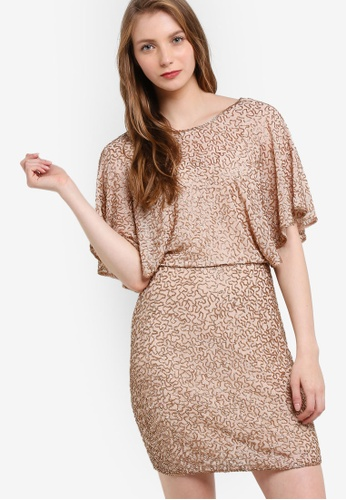 Miss Selfridge silver Premium Gold Angel Sleeve Dress MI665AA72OBRMY_1