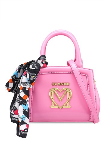 Love Moschino pink Twilly Scarf Love Logo Top-Handle Bag 06CC9AC6C8112FGS_1