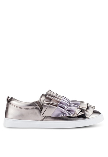 LOST INK silver Nash Ruffle Slip On Plimsolls LO238SH0RVIVMY_1