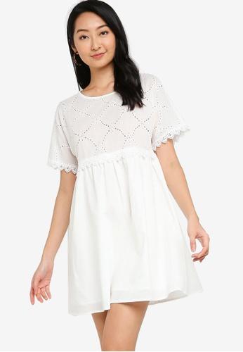 ZALORA BASICS white Lace Trim Eyelet Dress 8F39BAA1C61DC3GS_1