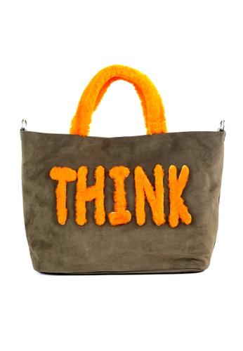 Shu Talk green Fluffy Fur THINK Shoulder Shopper Tote Bag SH617AC2VFM3HK_1