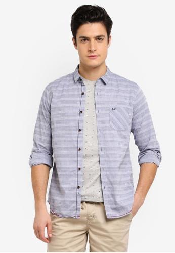 Fidelio grey Micro Collar Dobby Slim Fit Long Sleeves Shirt CC4FAAAB566180GS_1