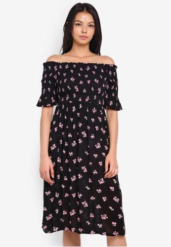 Dorothy Perkins black Petite Ditsy Shirred Bardot Dress 38B0BAABA3F3F1GS_1
