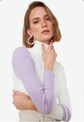 Trendyol purple Colorblock High Neck Ribbed Sweater 9A533AA79EBC3EGS_1