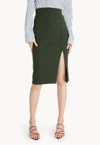 19e570fcfffd00 Buy Pomelo Midi Front Slit Pencil Skirt - Olive Online | ZALORA Malaysia