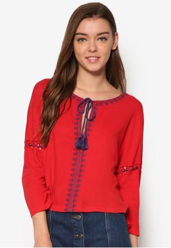繡花繫帶七分袖上衣, 服飾, esprit官網上衣
