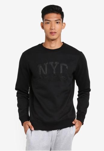 Cotton On black Crew Fleece Sweatshirt F6205AA04F8A45GS_1