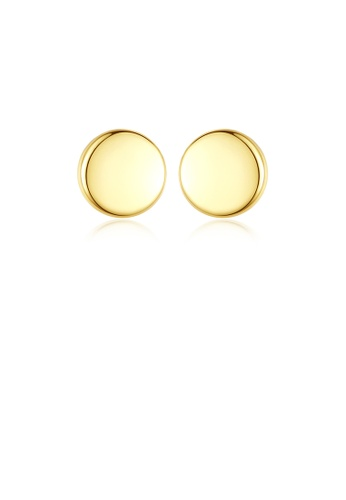 Glamorousky silver 925 Sterling Silver Plated Gold Simple and Delicate Geometric Round Stud Earrings D85ECAC51A6950GS_1