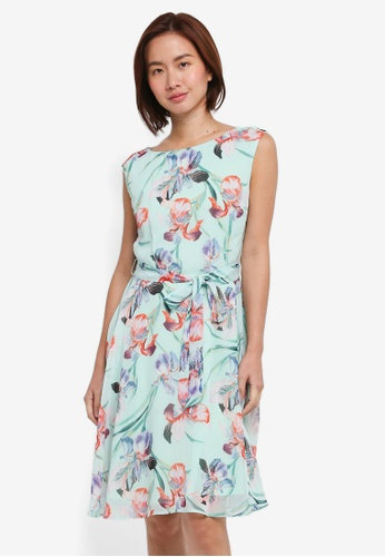 Wallis green Mint Floral Print Fit And Flare Dress B1C8DAA682E6EBGS_1