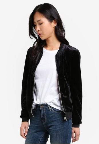 Buy ONLY ONLY ONE Mila Velvet Long Sleeve Bomber Jacket Online ...