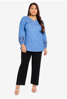 0292b8692bd TOPGIRL Plus Size Embroidered Denim Blouse RM 119.90. Sizes 40 42 44 46 48