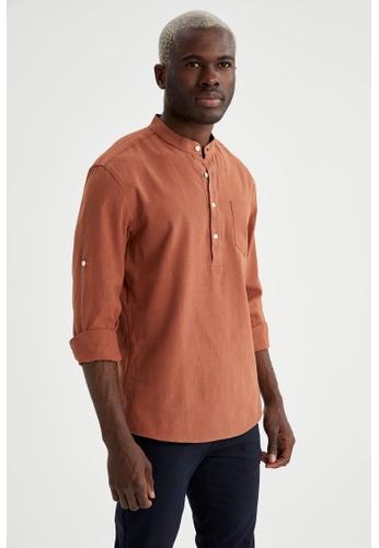 DeFacto orange Long Sleeve Cotton Shirt B655EAA2D3230FGS_1