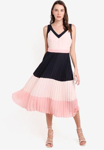 色塊拼接百褶esprit outlet 台中連身裙, 服飾, 洋裝