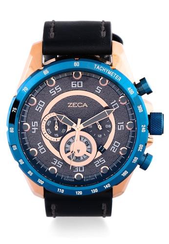 ZECA black Zeca Watches Man Fashion Leather Analog - 2018M Black Blue 64814AC99E7926GS_1