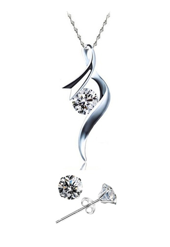 YOUNIQ silver YOUNIQ Ribbon 925 Sterling Silver Necklace Pendant with Cubic Zirconia & Earrings Set YO999AC19SFWMY_1