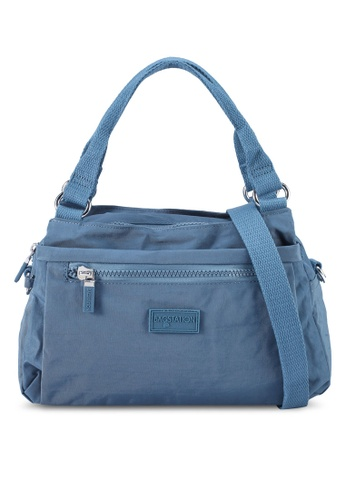 Bagstationz blue Crinkled Nylon Convertible Satchel Bag A6CFEAC287BC0AGS_1