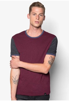 Short Sleeves 2 Tone T-shirt with Contrast Piping