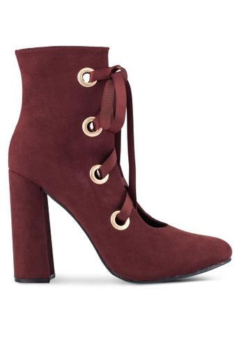 ZALORA 紅色 粗跟 靴子 5D08FZZCC04B05GS_1