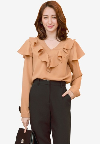 YOCO brown Frill Neckline Blouse 2171CAAA0F727DGS_1
