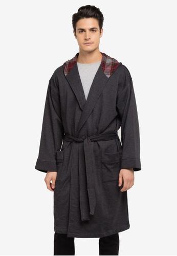 Burton Menswear London grey Jersey Hooded Robe BU964AA0SLF4MY_1