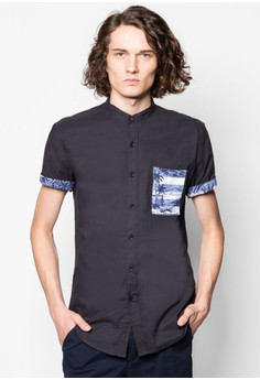 Stand Collar Short Sleeve Shirt With Tropical Stripe Pocket
