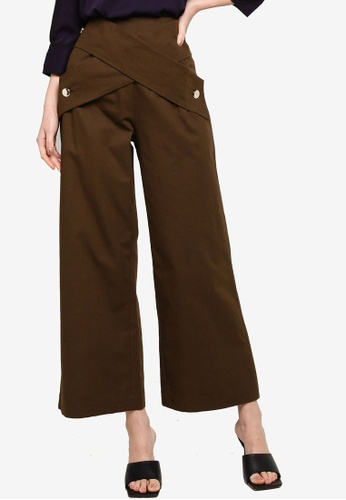 Zalia brown BUTTON WRAP PANTS 72603AAA2C35C3GS_1
