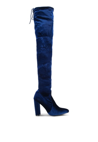 Public Desire navy Annie Velvet Over The Knee Boots PU378SH0S9NOMY_1