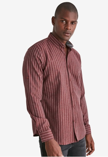 Trendyol red Striped Slim Fit Shirt BAC9BAA26E9EFAGS_1