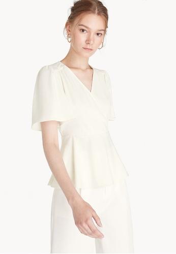 Pomelo white Surplice Peplum Blouse - White 52D52AAE67026BGS_1