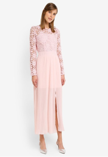 Miss Selfridge pink Lace Top Pleat Maxi Dress MI665AA0SLECMY_1