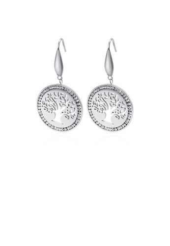 Glamorousky white Fashion and Elegant Round Tree Of Life 316L Stainless Steel Earrings with Cubic Zirconia 634E6ACE3E9382GS_1