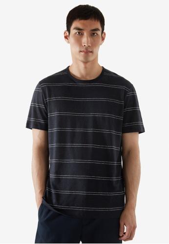 COS blue Regular-Fit Linen T-Shirt CB666AA2C52861GS_1