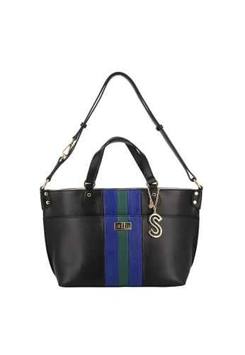 SEMBONIA black Emerald Stripes Leather Tote Bag 3E477ACF367833GS_1