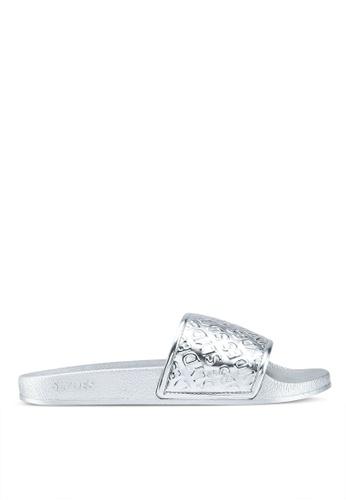Slydes 銀色 質感壓紋拖鞋 7C9A5SH70E6C4BGS_1