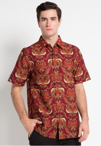 Batik Solo red Short Sleeve Cotton Print Shirt BA657AA0WFMWID_1