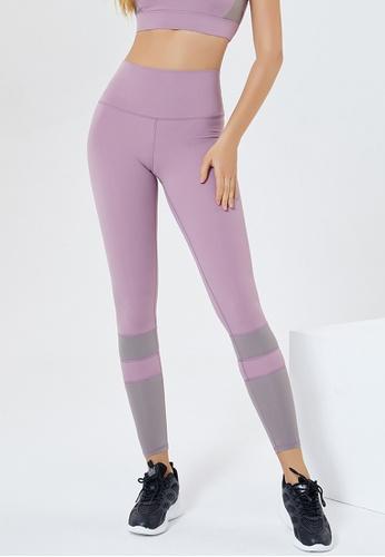Trendyshop purple Colour Block High-Elastic Fitness Leggings 83088US1E3C76CGS_1